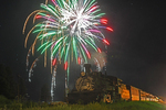 4th of July Fireworks and excursion train with locomotive No.488, Cumbres & Toltec Scenic Railroad, Chama, New Mexico