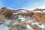 Winter landscape of Landscape Arch, Devils Garden, Arches National Park, UT