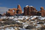 Winter landscape of Turret Arch, Arches National Park, UT