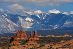 Winter snow on the La Sal Mountains seen from Arches National Park, UT