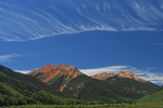 High Cirrus clouds over Red Mountains No.1, No.2, and No.3, Uncompahgre National Forest, Colorado