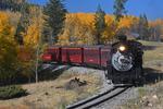 Fall colors with steam locomotive No.484 pulling excursion train, Cumbres & Toltec Scenic Railroad, New Mexico