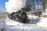 A Double-header of steam locomotives No.481 and No.493 pulling Cascade Canyon Winter Train, Durango & Silverton Narrow Gauge Railroad, Colorado