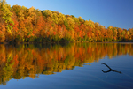 Green Lake in autumn, Green Lakes State Park, New York, USA