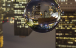 Crystal ball, downtown, skyline,  Houston, Texas.