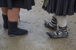 Village market, rubber shoes, traditional dress, Rozavlea, Romania, Market