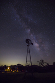 Milky Way, Windmill, stars, night sky, Block Creek Natural Area; Hill Country; Texas