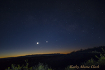 Planetary alignment, Mercury, Venus, Moon, Mars, Saturn in the predawn sky, Big Bend National Park, Texas.