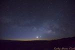 Milky Way, with Mercury, Venus, Moon, Mars, Saturn in the predawn sky, Big Bend National Park, Texas.