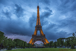 The Eiffel Tower, Champ de Mars, Paris, France,  at night, Alexandre Gustave Eiffel