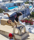 Pasha Petkuns, Latvian, Parkour or free running, at the Red Bull Art of Motion, in Santorini, Greece, October 4, 2014.