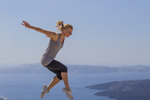 Aleksandra Shevchenko, Russian, Sheva, Parkour or free running, at the Red Bull Art of Motion, in Santorini, Greece, October 4, 2014.