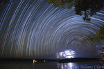 Star trail, or light left behind by the stars as the earth rotates, Madre de Dios River, in eastern Peru.