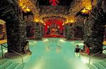 Guests enjoy the main spa pool at the Grove Park Inn Resort & Spa in Asheville, North Carolina.