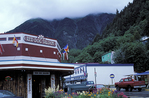 The Red Dog Saloon in downtown Juneau, Alaska. Mount Juneau is the fog-enshrouded mountain in the distance.