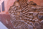 Wall in the medina, of Marrakech, Morocco, showing the many layers of building over the hundreds of years.