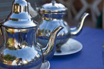 Traditional Morocco tea pots used to serve mint tea.