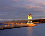 Minnesota, Grand Marais, Grand Marais Lighthouse, Lake Superior, first light with stormy sky