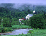Vermont, Stowe, Church and Little River in mist