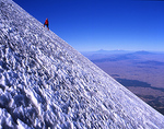 Mexico, Pico de Orizaba National Park, Pico de Orizaba, near summit, Climber on Glacier de Jamapa