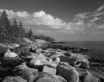 Maine, Acadia National Park, Schoodic Peninsula, Last light on rocky shore