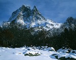 France, Pyrenees Mountains (Bearn), Parc National des Pyrenees, Pic du Midi d'Ossau with snow