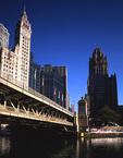 Illinois, Chicago, Downtown, Wrigley Building and  Michigan Avenue bridge over Chicago River  