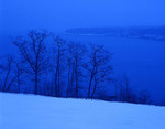 Maine, Rockland/Glen Cove area, Penobscot Bay with snow at dusk