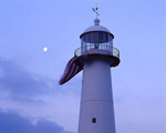 Mississippi, Biloxi, Biloxi Lighthouse with moon