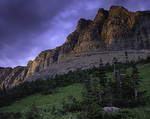 Montana, Glacier National Park, Garden Wall and stormy sky at last light