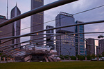 Illinois, Chicago, downtown, Millennium Park, Pritzker Pavilion with city skyline