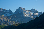 Spain, Aragon, Pyrenees Mountains, Col du Somport (pass), mountain peaks above pass on border with France