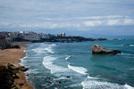 France, Pyrenees-Atlantiques, Biarritz, Atlantic Ocean, town with rocky shore and beach