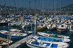 Spain, San Sebastian, port and harbor with boats