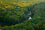 Michigan, Porcupine Mountains Wilderness State Park, Big Carp River downstream from Lake of the Clouds, viewed from bluff above with early fall color
