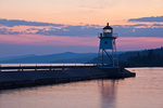 Minnesota, North Shore, Grand Marais, Lake Superior, Grand Marais Lighthouse at sunset