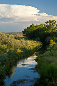 New Mexico, Santa Rosa, El Rito Creek and thunderstorm