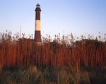 New York, Fire Island National Seashore, Long Island, Fire Island Lighthouse with moon, (view 2)
