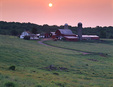 Pennsylvania, Sullivan County, Sunrise over farm