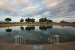 Texas, Balmorhea State Park, spring-fed swimming pool with early morning sky