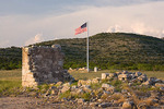 Texas, Fort Lancaster State Historic Site, fort ruins with parade ground flag