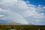 Texas, Franklin Mountains State Park, Franklin Mountains with rainbow and storm