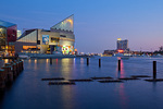 Maryland, Baltimore, Inner Harbor, National Aquarium and USS Torsk submarine at dusk