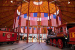 Maryland, Baltimore, B & O Railroad Museum, historic engines and railroad equipment in old roundhouse