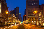 Illinois, Chicago, N. Michigan Avenue (Magnificent Mile) at dusk