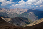 Colorado, San Isabel National Forest, Sawatch Range, Collegiate Peaks Wilderness, Mt. Belford summit (14,197 feet) view down Missouri Gulch