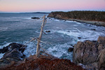 Maine, Boot Head Preserve, Washington County, rugged shoreline before dawn