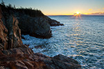 Maine, Boot Head Preserve, Washington County, rugged shoreline at sunrise