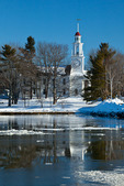 Maine, Kennebunkport, South Congregational Church after big snow storm with pond