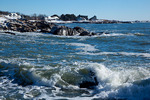 Maine, Kennebunkport, homes on rocky shore after big snow storm